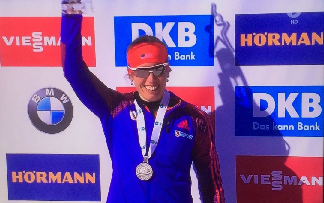 Susan Dunklee is the Vice World Champion in this year's mass run at the biathlon world cup in Hochfilzen, which ended yesterday