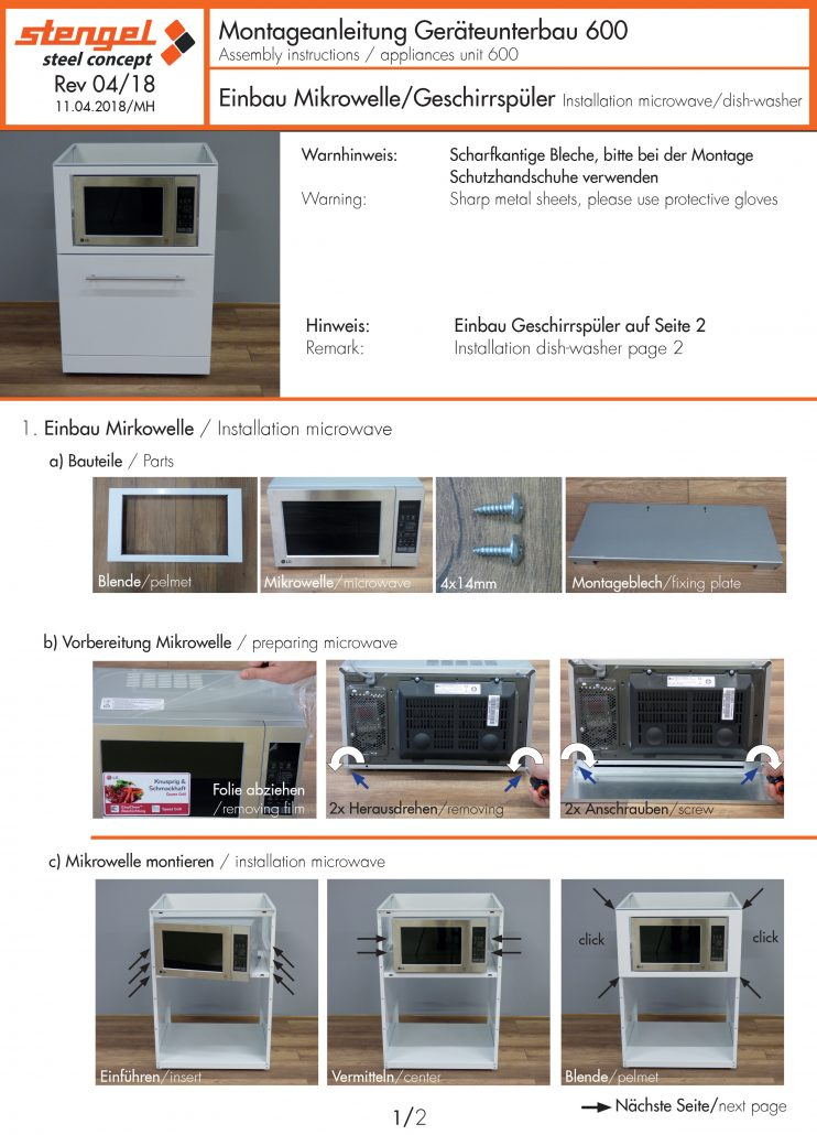 Montage Geschirrspüler und Mikrowelle