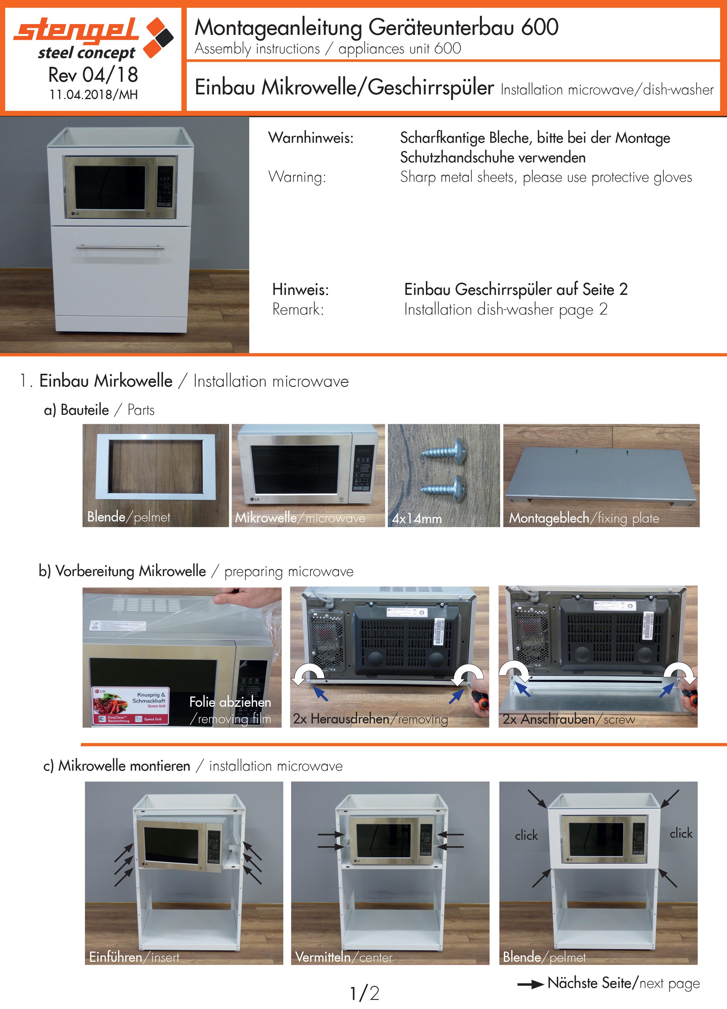 dishwasher/microwave Installation