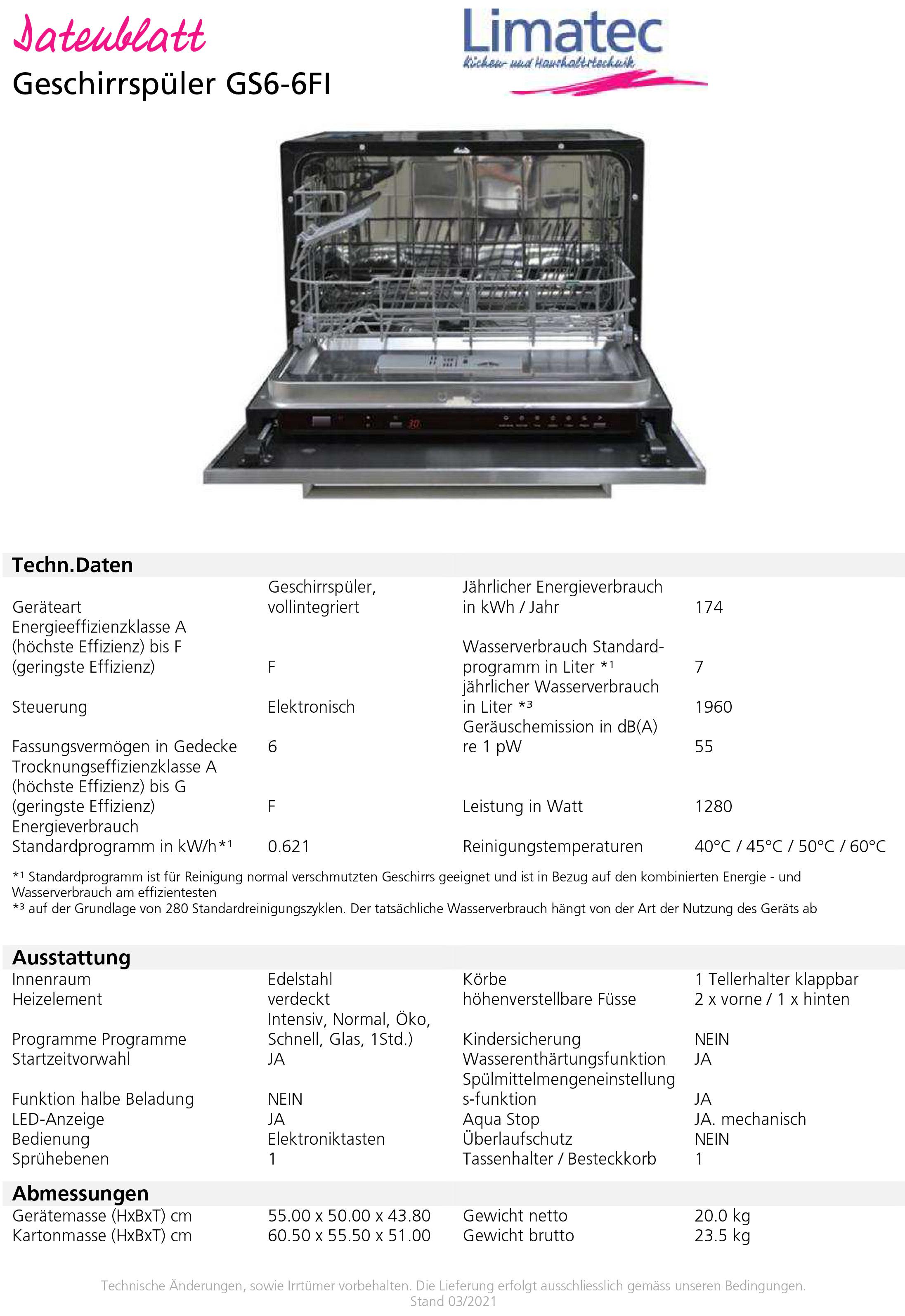 dishwasher GS6-6FI