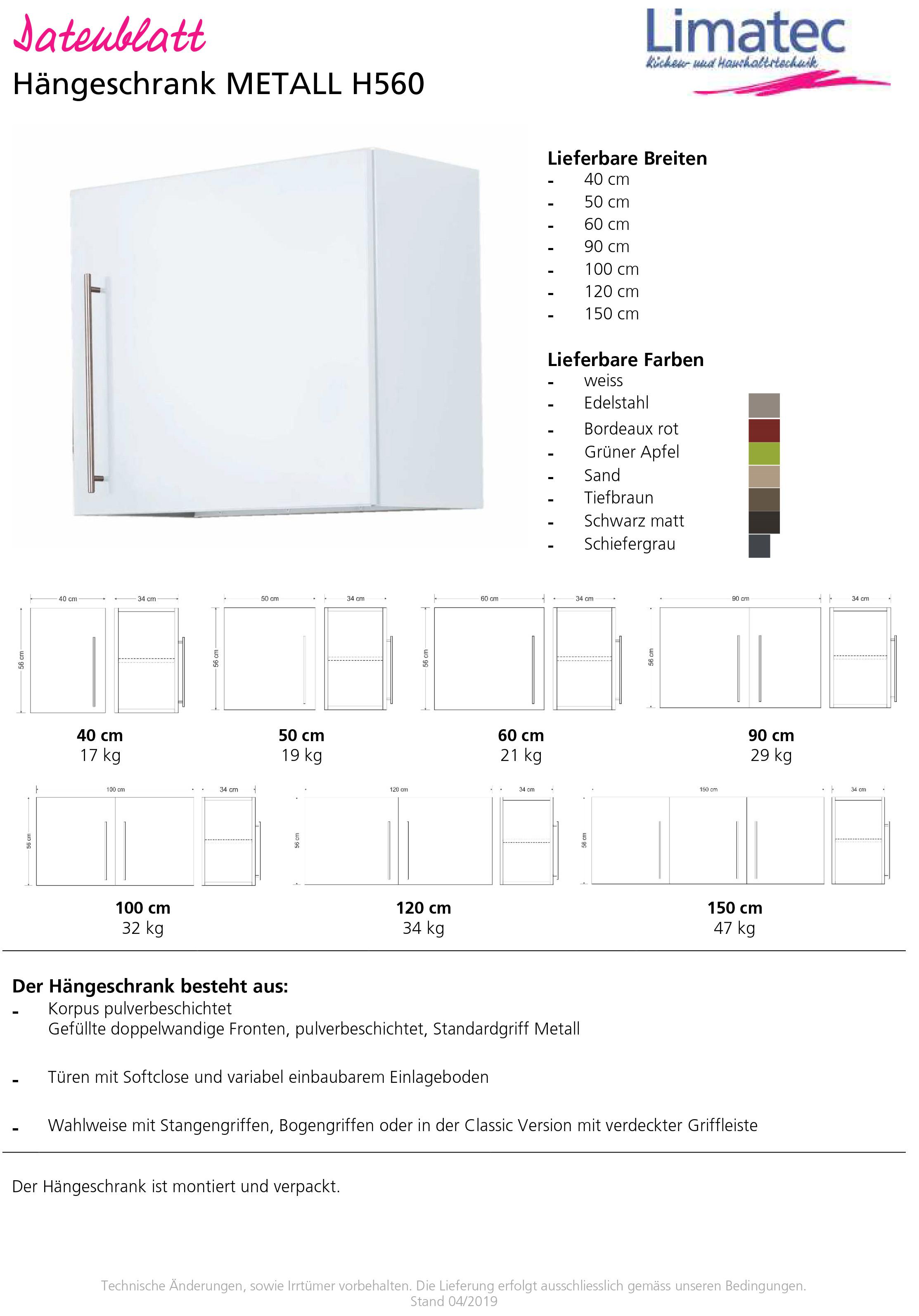 Wall cupboard METAL H560