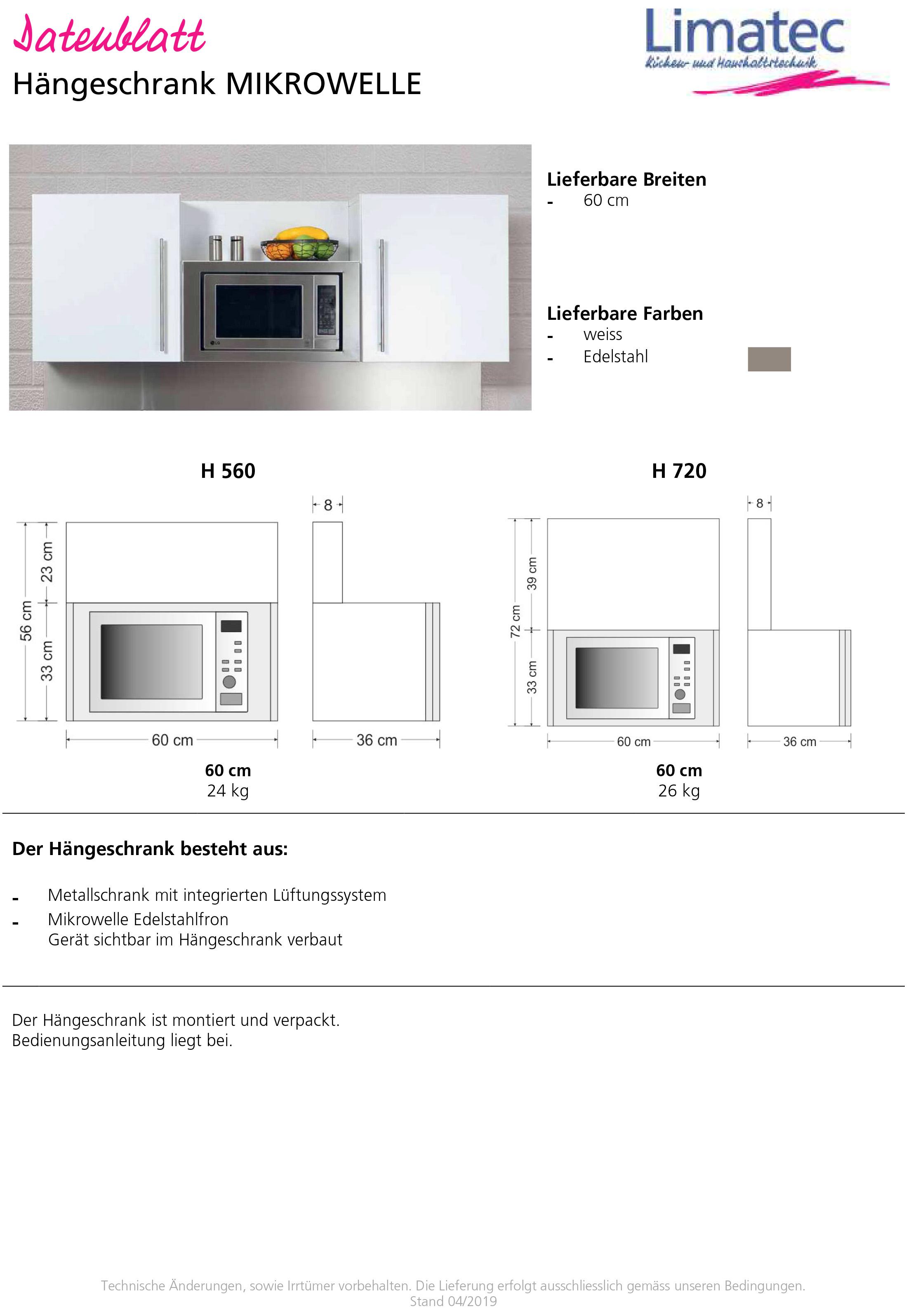 Wall cupboard MICROWAVE
